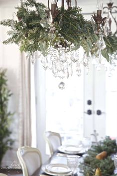 French Country Cottage Christmas Home Tour - I am so excited to share a peek at our home dressed for Christmas this year. I feel like I loaded 347 photos already this morning to this . French Country Christmas, Farmhouse Christmas Decor, French Country Cottage, French Country Decorating, Rustic Christmas, Christmas Home, Christmas Tables, Green Christmas, Christmas 2019