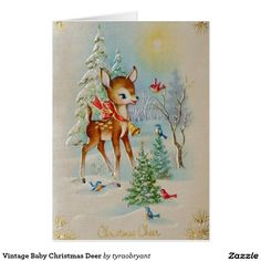 Vintage Baby #Christmas Deer #cards #popular