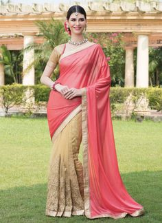 Grab the second look in this elegant attire for this season. This pink and beige net and faux chiffon designer saree is accenting the gorgeous feeling. The embroidered and patch border work on attire ...