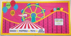 Circus Decoration Ideas Lovely Smells Like Library Bulletin Boards & Display March Book Carnival Bulletin Boards, Circus Theme Classroom, Bulletin Board Display, Classroom Bulletin Boards, Preschool Bulletin, Classroom Crafts, Classroom Design, Future Classroom, Preschool Ideas