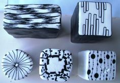 Black&White Canes for the Clay Carnival 2012 Inches