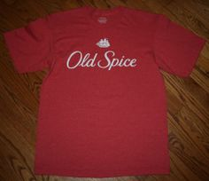 Men's OLD SPICE cologne aftershave red T-Shirt tee-Men's Large retro/sailing/New