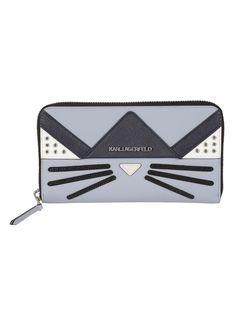 48755ac6444c2 Lightsteel Blue Logo Plaque Zip Around Wallet from Karl Lagerfeld   lightsteel blue leather zip around