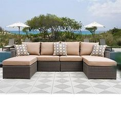 Hampton 6-piece Patio Deep Seating Sectional by Sirio™