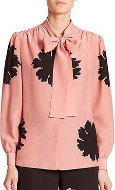 Alexander McQueen Floral Silk Tie-Neck Blouse  Price : 1995.00$