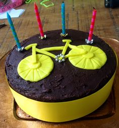 Toure De France themed birthday cake! #TDF #touredefrance #yellowbike #cycling #bicycle #chocolate #cake #candles