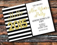 Black White Stripe Gold Foil Chalkboard New Years Eve Party 2014 2015 Couple Baby Wedding Shower White Elephant Cookie Swap Invitation