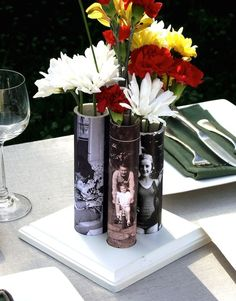 Make this photo vase using PVC pipe.  Great for an 80th birthday party.