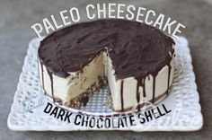Paleo Cheesecake with a delectable Dark Chocolate Shell  #PaleoDulce