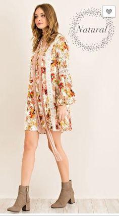 Entro Floral Print Peasant Dress in Natural