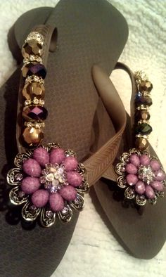 CARNIVALE DE RIO!! A rich brown flip flop with a UNIQUE and fabulous purple flower by FlipinistaYourBFF,