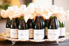 Mini Champagne Labels  Wedding Favor  Thank You  by paperandlace