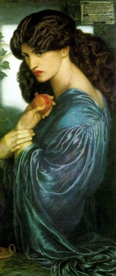 Dante Gabriel Rossetti Proserpine, 1874, oil on canvas, 125.1 x 61.0 cm, Tate Gallery, London. In the classical myth Proserpine was kidnapped by Pluto, the god of the  underworld, to be his wife. She begged to be returned to earth, but  because she had eaten some pomegranate seeds Pluto confined her to his  kingdom for half of each year. She is shown here eating a pomegranate  which symbolises captivity. Jane Morris modelled for Proserpine. She was  married to Dante Gabriel Rossetti's ...
