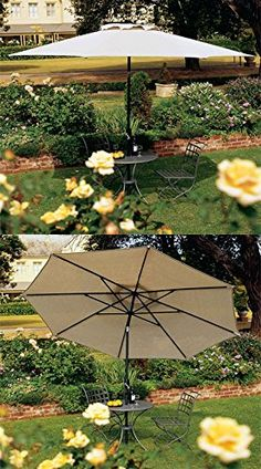 Coolaroo Market Umbrella Smoke 11-Feet  Large 11 foot round smoke lightweight patio umbrella with unique Coolaroo knitted fabric provides up to 90% UV Block and reduces temperature underneath by up to 32%. The fabric is easy to clean and is mold and mildew resistant. The premium crank mechanism provides smooth and easy opperation. It has a 3 position tilt-aluminum pole tha angles to provide shade at any time of day and is corrosion resistant for superior long life.  The fabric has a ..