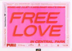 Poster, Shakespeare in the Park Romeo and Juliet/A Midsummer Night's Dream, The Public Theater, 2007 Love Posters, Cute Poster, Poster Wall, Poster Prints, Red Aesthetic, Aesthetic Pictures, Romeo And Juliet Poster, Shakespeare In The Park, Public Theater