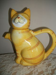 BEAUTIFUL VINTAGE MARTINVALE GINGER CAT TEAPOT