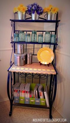 Bakers Rack Restyle With Martha Stewart Paints And Stencils