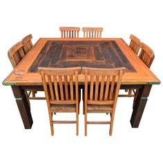 Mesa quadrada com Marchetaria e 8 cadeiras em Peroba Rosa - 4440