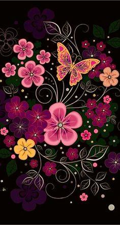 ♥ Ƹ̴Ӂ̴Ʒ Jewels Pink Wallpaper ♥ on We Heart It Butterfly Wallpaper, Butterfly Flowers, Beautiful Butterflies, Beautiful Flowers, Flower Art, Pink Flowers, Screen Wallpaper, Cool Wallpaper, Mobile Wallpaper