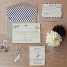 Vintage Travel Wedding Invitation - vintage postcard, telegram, travel invitation with bakers twine and flag tag
