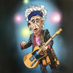 Here's a caricature of Keith Richards performing. Their Satanic Majesties Request, Exile On Main St, Saturday Club, Tokyo Dome, Want To Be Loved, The Joe, Honky Tonk, Progressive Rock, Keith Richards