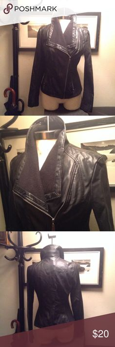 Faux leather jacket Black faux leather jacket worn still have life really cute Mossimo Supply Co Jackets & Coats