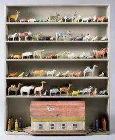 Hand-painted and carved wooden Noah's ark