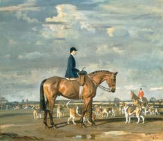 Sybil Harker on Saxa with the Norwich Staghounds Premium Giclee Print by Sir Alfred Munnings at Art.com