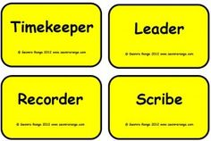 Co-Operative Learning - group role cards