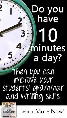 Teaching Grammar Program, Ten Minute Grammar, High School  Teaching grammar and getting it all in no matter what schedule you have is a challenge because time is limited… and grammar is difficult to teach.  Nonetheless, there are standards we must cover before the final end of course exams or standardized tests roll around. You can do it in just 10 minutes a day - whether you are teaching in class or remotely with distance learning.