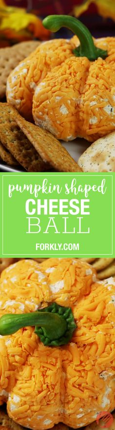 Pumpkin Shaped Cheese Ball : A season spin on this classic appetizer! Serve it up this Thanksgiving...