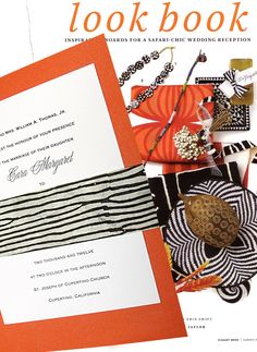 Safari-Chic Orange Wedding Invitations with Zebra Sash 98¢ - Invitation Ideas - Invitation Ideas