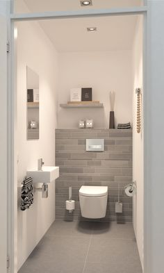 Space Saving Toilet Design for Small Bathroom is part of Luxury bathroom tiles In the event that you are one of the a huge number of individuals around the globe who needs to bear the claustrophobia - Space Saving Toilet, Small Toilet Room, Small Toilet Decor, Cloakroom Toilet Small, Small Shower Room, Cloakroom Ideas Small, Toilet Room Decor, Space Saving Bathroom, Toilette Design
