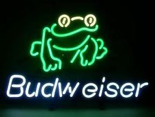 NEW LOGO REAL GLASS NEON LIGHT BEER PUB BAR SIGN GIFT BUDWEISER FROG T833