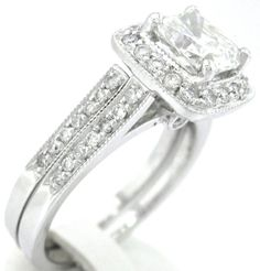 Cushion cut diamond engagement ring and band 18k 220ctw by KNRINC, $8299.00