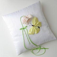 RIBBON HAND EMBRIODERED PILLOWS   Butterfly Ring Pillow silk ribbon embroidery by bstudio on Etsy