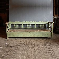 Benches - An original painted box bench in gorgeous pale green unrestored condition.