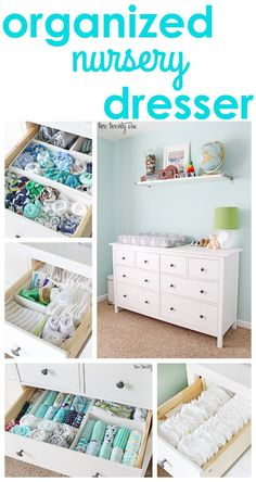 Dresser Organization Tips and tricks for an organized nursery dresser!Tips and tricks for an organized nursery dresser! Baby Bedroom, Nursery Room, Girl Nursery, Ikea Baby Room, Ikea Baby Nursery, Nursery Decor, Baby Decor, Nursery Dresser Organization, Organizing Baby Dresser