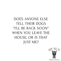 "does anyone else tell their dogs ""I'll be back soon"" when you leave the house, or is that just me? #dopedogco #dopedog"