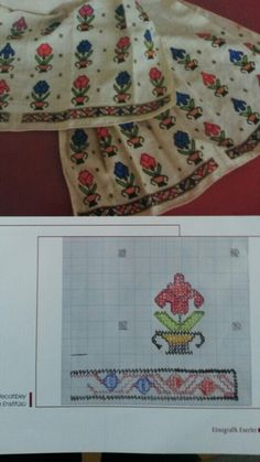 This Pin was discovered by Nil Border Embroidery Designs, Folk Embroidery, Cross Stitch Embroidery, Embroidery Patterns, Knitting Patterns, Turkish Design, Oriental, Linen Napkins, Bargello