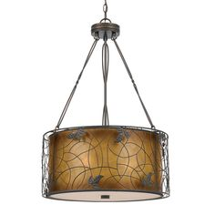 Quoizel MC844CRC Naturals 3 Light Mica Large Pendant, Renaissance Copper