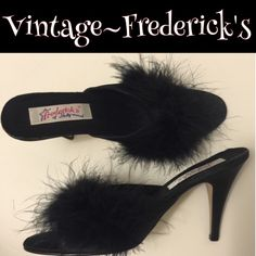 "Vintage NWT Fredericks of Hwd marabou heels Kitten with a Whip! These classical bombshell bedroom slippers are from the original Hollywood Boulevard Fredericks of Hollywood. Not making them anymore, it's rare to find a pristine unworn pair. Lovely and fluffy and smashingly seductive❤️❤️4"" heel.ask questions if your interested. Frederick's of Hollywood Shoes"