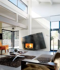 Cool contemporary fireplace design...