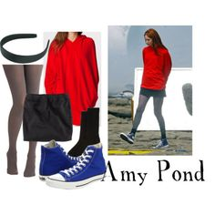 """Amy Pond from """"Time of Angels"""" and """"Flesh and Stone""""  Sweatshirt hoodyH M mini skirt, £13Tulle Clothing checkered tight, $15Barneys New York crew socks, $45Converse hi top sneaker, $50Black hair accessory, $5"""