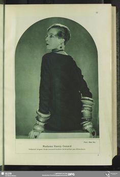 Nancy Cunard by Man Ray. Revue des Monats, 2.1927/28, H.1, November: http://www.illustrierte-presse.de/en/the-magazines/werkansicht/dlf/77515/1/