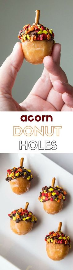 Donut Holes This acorn donut hole recipe is a fun way to celebrate the end of summer and the beginning of fall!This acorn donut hole recipe is a fun way to celebrate the end of summer and the beginning of fall! Thanksgiving Treats, Fall Treats, Holiday Treats, Fall Snacks, Thanksgiving Sides, Yummy Treats, Sweet Treats, Yummy Food, Mini Desserts