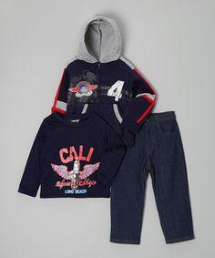 Love this Coney Island Kids Navy 'Speed Shop' Zip-Up Hoodie Set - Toddler & Boys by Coney Island Kids on #zulily! #zulilyfinds