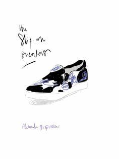 Slip-on Sneakers, Alexander McQueen.   #fashion #illustration Open Toe - Opentoeillustration.com