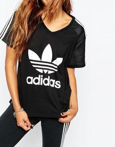 Adidas | adidas Originals Oversized T-Shirt With 3 Stripe & Trefoil Logo at ASOS