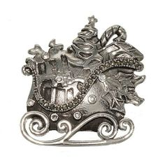 Antique Reproduction Santa Sleigh Filled with Gifts Christmas Brooch in Rhodium Plate with Genuine Marcasite Glamour Rings. $12.95